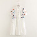 Dress Summer 2020 White, sky blue Average size singleton  Short sleeve stand collar Loose waist Socket Big swing Embroidery, folds, buttons More than 95% cotton