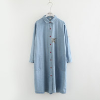 Dress Autumn 2020 Light blue, dark blue Average size singleton  Nine point sleeve Polo collar Loose waist Dot Single breasted routine Embroidery, pockets, buttons, prints More than 95% cotton