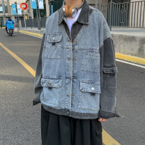 Jacket Other / other other Black, blue M. L, XL, 2XL, 3XL, s small, XS plus small routine standard Other leisure spring Long sleeves Wear out Lapel Basic public routine Single breasted 2021 Cloth hem washing Loose cuff Cover patch bag