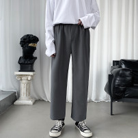 Western-style trousers Others Youth fashion Black, grey, black plush, grey plush M. L, XL, 2XL, 3XL, 4XL, s small, XS plus small trousers Straight cylinder autumn leisure time teenagers tide Solid color 2020 No iron treatment