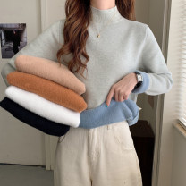 Wool knitwear Winter 2020 Average size Black, white, Granny grey, milk tea, caramel, 2849 white Long sleeves singleton  Socket other 30% and below thickening commute Half height crew neck routine Solid color Socket Korean version 18-24 years old