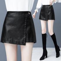 Casual pants black 26/S 27/M 28/L 29/XL 30/2XL Autumn 2020 shorts Straight pants High waist Versatile YMR2275 Filiform flower Viscose (viscose) 63% polyester 37%