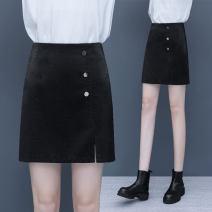 skirt Spring 2021 S/26 M/27 L/28 XL/29 XXL/30 3XL/31 black Short skirt Versatile High waist A-line skirt Solid color XTY6609 81% (inclusive) - 90% (inclusive) Filiform flower Viscose Viscose (viscose) 83.2% polyester 16.8%