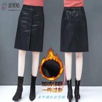 skirt Autumn 2020 S [85-98 Jin], m [98-110 Jin], l [110-122 Jin], XL [122-135 Jin], 2XL [135-148 Jin], 3XL [148-160 Jin], 4XL [160-172 Jin], 5XL [172-185 Jin] Black, white underwear, black Plush Mid length dress High waist A-line skirt Button