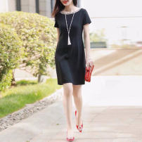 Dress Spring 2021 black Mid length dress singleton  Short sleeve commute Crew neck middle-waisted Solid color Socket other routine Others Type H Pinge Dixin Ol style Nail bead 51% (inclusive) - 70% (inclusive) Cellulose acetate