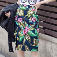 skirt Summer of 2019 Middle-skirt commute Natural waist skirt Big flower More than 95% Type H cotton 1200116-4A20522-001 printing Novel goldette Korean version 1/XS,2/S,3/M,4/L,5/XL Design and color