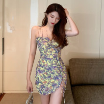 Dress Summer 2020 yellow S M L Short skirt singleton  Sleeveless Sweet One word collar High waist Broken flowers Socket A-line skirt other camisole 18-24 years old Type A Qiansha'er Ruffle pleated open back pleated bandage 6DXH612-D_ two thousand three hundred and nine More than 95% other Other 100%
