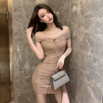 Dress Spring 2020 Brown Black S M Short skirt singleton  Short sleeve Sweet One word collar High waist Solid color Socket A-line skirt other Others 18-24 years old Type A Qiansha'er Open back fold 0L69151 More than 95% other Other 100% Ruili Pure e-commerce (online only)