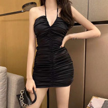 Dress Summer 2020 Black blue S M Short skirt singleton  Sleeveless Sweet V-neck High waist Solid color Socket A-line skirt other Hanging neck style 18-24 years old Type A Qiansha'er Open back fold lace 0U8539-1 More than 95% other Other 100% Ruili Pure e-commerce (online only)