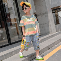suit SARTTIVIS Sky blue light green 110cm 120cm 130cm 140cm 150cm 160cm male summer leisure time Short sleeve + pants 2 pieces Thin money There are models in the real shooting Socket nothing other cotton children Expression of love Class B Cotton 95% other 5% Summer 2020