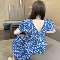 Dress Summer 2021 blue S,M,L,XL,2XL Mid length dress singleton  Short sleeve commute V-neck High waist Decor Socket A-line skirt puff sleeve Others 18-24 years old Type A #NOHASHTAG Korean version M28H5693 71% (inclusive) - 80% (inclusive) Chiffon polyester fiber