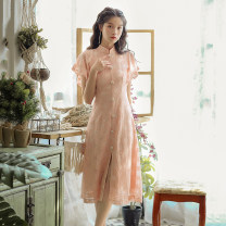 Dress Summer 2021 Pink original factory spot direct sales S,M,L Mid length dress singleton  Short sleeve commute stand collar High waist Single breasted A-line skirt Lotus leaf sleeve Others 18-24 years old Type A Retro 51% (inclusive) - 70% (inclusive) Lace