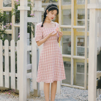 Dress Summer 2021 Red lattice S,M,L Middle-skirt singleton  Short sleeve commute square neck High waist lattice Socket Princess Dress Princess sleeve Others 18-24 years old Type A Retro Bowknot, tuck, open back, lace, bandage 51% (inclusive) - 70% (inclusive)