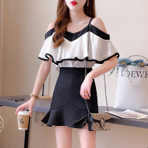 Fashion suit Summer 2021 S,M,L,XL Yellow top + yellow skirt, black top + black skirt, yellow top, black top, yellow skirt, black skirt 18-25 years old 81% (inclusive) - 90% (inclusive) cotton