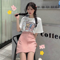 Fashion suit Summer 2021 S,M,L,XL White top, red top, pink denim skirt, white top with skirt, pink top with skirt Under 17 201 (in stock) 96% and above cotton