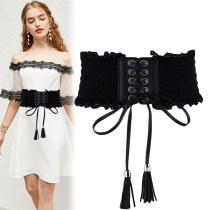 Belt / belt / chain other Ginger white red black female Waistband Sweet Single loop Young, middle-aged and old soft surface 8cm Fringed lace bow candy lace Eyof / yiyuanfang YF-06 Spring / summer 2018