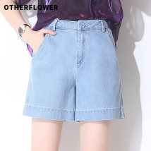 Jeans Summer of 2018 blue SMLXL2XL3XL shorts High waist Wide legged trousers ultrathin Button wash multi white zipper pocket Thin denim light colour Five hundred and seventy-eight OTHERFLOWER 96% and above Cotton 100%