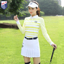 Golf apparel Top white and yellow, skirt white, top + skirt S,M,L,XL,XXL female ZG-6 Long sleeve T-shirt Y6727