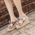 Sandals 34,35,36,37,38,39 Superfine fiber Barefoot Slope heel Super high heel (over 8cm) Summer 2021 Flat buckle Korean version Solid color Sewing shoes rubber daily Back space Lateral space PU PU Flat buckle
