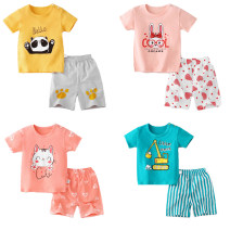 suit Beijirog / Arctic velvet currency summer leisure time Short sleeve + pants 2 pieces Thin money No model Socket nothing Cartoon animation Pure cotton (100% cotton content) children Expression of love Class A Cotton 100% Chinese Mainland Henan Province Shangqiu City