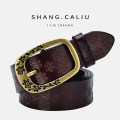 Belt / belt / chain Double skin leather Butterfly brown butterfly camel butterfly white plum camel white plum Black Butterfly red plum red butterfly coffee plum coffee plum brown butterfly black female belt Versatile Single loop Middle aged youth Pin buckle Flower design Embossing 3.2cm alloy Pogley
