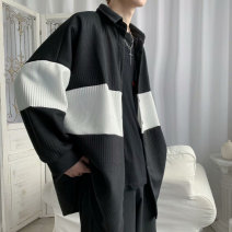 Jacket Other / other Youth fashion Black, gray M,L,XL,2XL routine easy Other leisure autumn Long sleeves Wear out Lapel like a breath of fresh air teenagers routine Single breasted 2020 No iron treatment Closing sleeve Color matching other