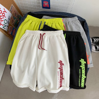 Casual pants Others Youth fashion Gray, white, black, fluorescent green M,L,XL,2XL routine Shorts (up to knee) Other leisure easy Micro bomb summer teenagers Exquisite Korean style 2020 Medium low back Straight cylinder Sports pants printing Solid color Terry cloth cotton Domestic non famous brands