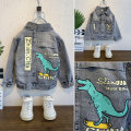 Plain coat Other / other male 90cm,100cm,110cm,120cm,130cm,140cm Gray, yellow, light blue, Retro Blue, dark gray, light blue spring and autumn leisure time Single breasted No model routine nothing dinosaur Denim Lapel 592+08.56 Cotton 95% other 5% Class B