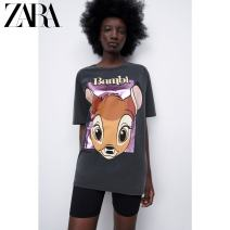 T-shirt Carbon color S (165/84A) M (170/88A) L (175/96A) XL (175/100A) Summer 2021 Short sleeve Crew neck Regular routine street cotton 96% and above 18-24 years old youth Cartoon animation ZARA printing Cotton 100% Same model in shopping mall (sold online and offline) Europe and America