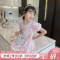 Dress Pink female Princess Yuanyuan 110cm,120cm,130cm,140cm Other 100% summer Korean version Short sleeve Solid color other Princess Dress Class B 7, 8, 14, 3, 6, 13, 11, 5, 4, 10, 9, 12 Chinese Mainland