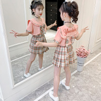 suit Other / other Blue, pink 110, 120, 130, 140, 150, 160 female summer college Short sleeve + skirt 2 pieces Thin money There are models in the real shooting Socket nothing lattice cotton children Giving presents at school com069 Class B Chinese Mainland