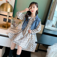 suit Other / other Black, white 110cm,120cm,130cm,140cm,150cm,160cm female spring and autumn other Short sleeve + pants 2 pieces Thin money There are models in the real shooting Socket nothing Dot other elder Expression of love Class B Other 100% Chinese Mainland