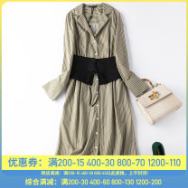 Dress Autumn 2020 Blue and white, green and white S,M,L,XL Mid length dress singleton  Long sleeves commute Polo collar middle-waisted Solid color Single breasted A-line skirt routine 30-34 years old Type A Jumel / Rima Ol style Button M1508 More than 95% cotton