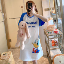 Nightdress Other / other 160(M),165(L),170(XL),175(XXL) Cartoon Short sleeve Leisure home Middle-skirt summer Cartoon animation youth Crew neck cotton printing More than 95% pure cotton 200g and below