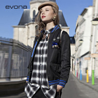 short coat Autumn of 2018 34 36 38 40 42 black Long sleeves routine routine singleton  Straight cylinder street routine other zipper Solid color 35-39 years old evona 96% and above Three dimensional decorative zipper stitching in pocket nylon nylon Polyamide fiber (nylon) 100%
