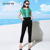 Casual pants green 34/S 36/M 38/L 40/XL 42/XXL Spring of 2018 trousers Jumpsuit Natural waist Other styles routine 25-29 years old 96% and above EP1K1418L.0010 evona silk pocket silk Mulberry silk 100%