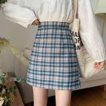 skirt Spring 2021 S,M,L Green, blue Short skirt commute High waist A-line skirt lattice Type A 18-24 years old 1/7 Korean version