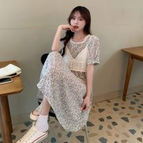 Dress Summer 2021 Red, blue Average size Mid length dress Two piece set Short sleeve commute High waist Broken flowers A-line skirt 18-24 years old Type A Korean version 4/2
