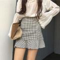 skirt Spring 2021 S,M,L Black and white Short skirt Versatile High waist skirt lattice 18-24 years old 3*7