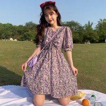 Dress Spring 2021 Purple, pink Average size Middle-skirt singleton  Short sleeve commute V-neck High waist Broken flowers Socket A-line skirt other 18-24 years old Type A Retro bow 2*21