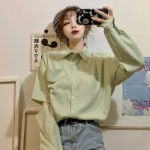 shirt White, light green Average size Spring 2020 other 96% and above Long sleeves commute Medium length Polo collar Single row multi button Solid color 18-24 years old Straight cylinder Korean version 2/1