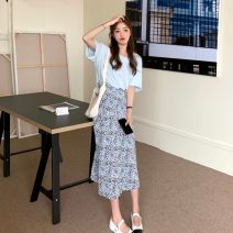 Fashion suit Summer 2021 S. M, average size White T-shirt, blue T-shirt, blue skirt, green skirt 18-25 years old 4/8
