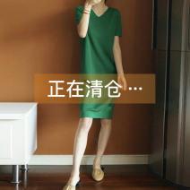 Wool knitwear Summer of 2019 S,M,L,XL,2XL,3XL Black, green, white, blue Short sleeve singleton  Socket other 81% (inclusive) - 90% (inclusive) Medium length Thin money commute V-neck Solid color Korean version