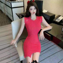 Dress Summer 2021 Rose light blue S M L XL Short skirt singleton  Sleeveless commute Crew neck High waist Solid color Socket One pace skirt other Others 25-29 years old Type H Jane fan school Korean version Hole asymmetry AML1160# More than 95% brocade polyester fiber Other polyester 95% 5%