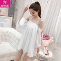 Dress Summer of 2018 white S M L XL Short skirt singleton  Sleeveless commute One word collar High waist Solid color Socket A-line skirt routine camisole 18-24 years old Type A Jane fan school Korean version Bow and ruffle strap J58805# More than 95% brocade polyester fiber Other polyester 95% 5%