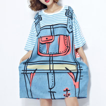 Women's large Summer of 2019, spring of 2019 White, black Average size [120-220 Jin] Dress singleton  street easy moderate Socket Short sleeve stripe Crew neck Medium length cotton printing and dyeing routine Other / other pocket 96% and above Medium length Cake skirt hippie Cotton 96% and above