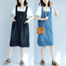 Dress Summer of 2019 Blue, black Mid length dress singleton  Sleeveless commute One word collar Loose waist Solid color Socket other routine camisole Type A pattern Retro Pockets, stitching More than 95% other cotton