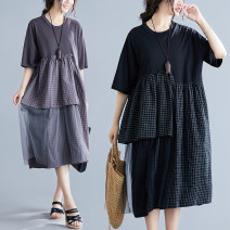 Women's large Summer of 2019 Dark purple, black L [100-160 kg], XL [160-220 kg] Dress singleton  commute easy moderate Socket Short sleeve Plaid, solid Korean version Crew neck Medium length other Three dimensional cutting routine Other / other tie-dyed 81% (inclusive) - 90% (inclusive) longuette
