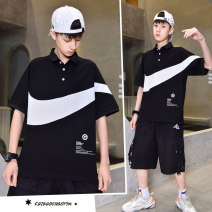 T-shirt Black, white Other / other 150cm,160cm,170cm,180cm male summer Short sleeve Lapel and pointed collar leisure time There are models in the real shooting nothing cotton other Cotton 95% polyurethane elastic fiber (spandex) 5% 11, 12, 13, 14, over 14