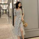 Women's large Summer 2020 Picture color M [suggest less than 100 kg], l [suggest 100-115 kg], XL [recommend 115-135 kg], 2XL [recommend 135-155 kg], 3XL [recommend 155-175 kg], 4XL [recommend 175-200 kg] Dress singleton  commute easy thin Socket Short sleeve lattice Korean version square neck other